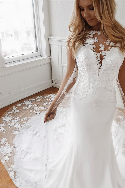 Sleeveless Lace Wedding Dresses Cheap Online | Mermaid Bridal Gowns with Long Train