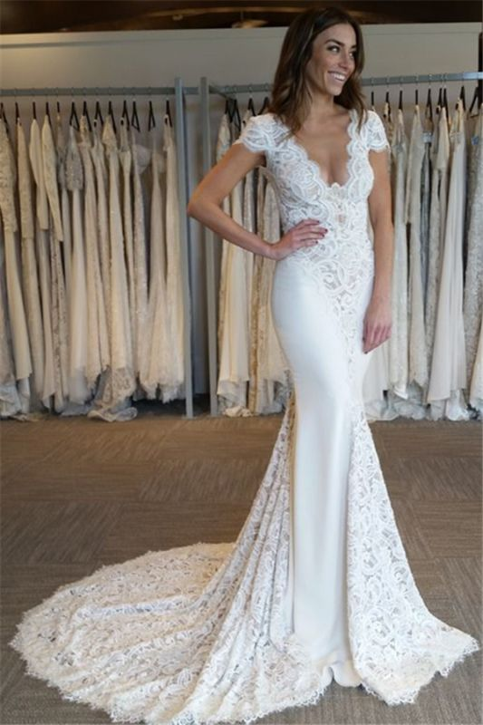 Court Train Lace Appliques V-Neck Elegant Cap Sleeves Mermaid Wedding Dresses Cheap Online