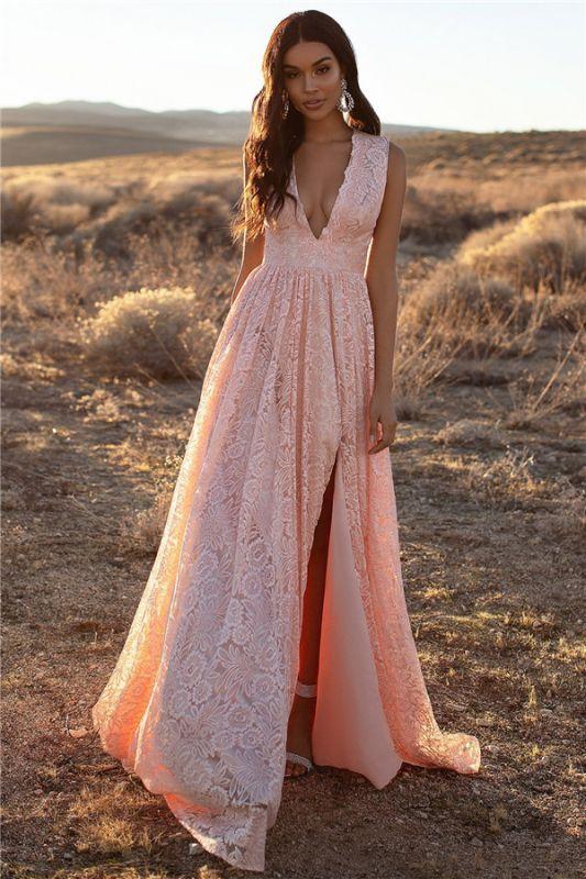 Bretelles roses dentelle v-cou dentelle fente latérale robes de soirée une ligne
