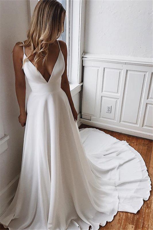 Sexy Simple Spaghetti Straps Satin Bridal Gowns | Open Back Cheap Beach Wedding Dresses