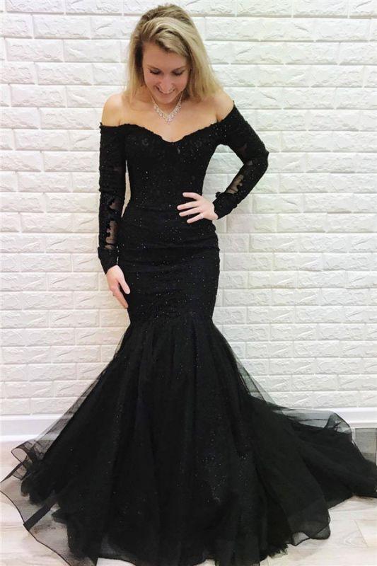Black Off-The-Shoulder Long Sleeves Mermaid Evening Dresses