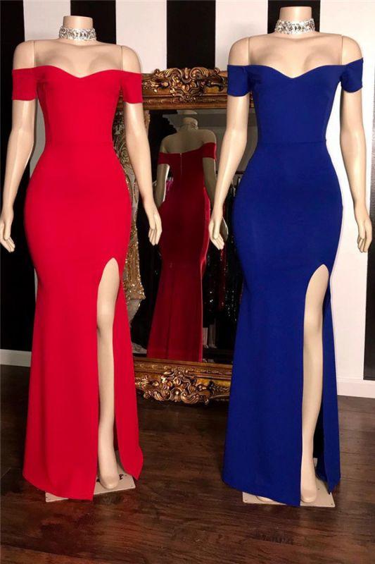 Élégantes robes de bal de sirène simples fendue sur le côté côté épaule