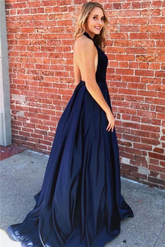 Sexy Halter V-Neck Sleeveless Backless A-Line Prom Dresses