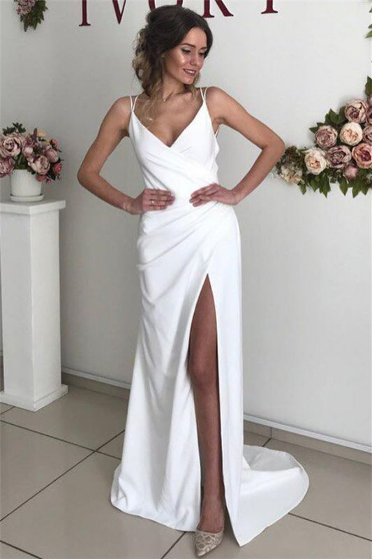 Simple Sexy Backless Spaghetti-Straps Side-Slit Prom Dresses