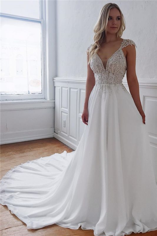 Sexy V-neck Chiffon Wedding Dresses with Beads | Open Back Appliques Cheap Bridal Gowns