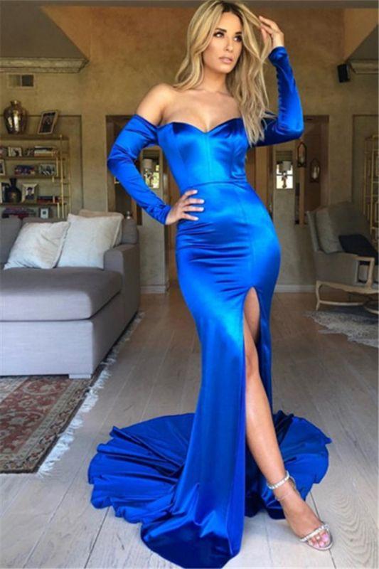 Royal Blue Off-The-Shoulder Long Sleeves Side-Slit Prom Dresses
