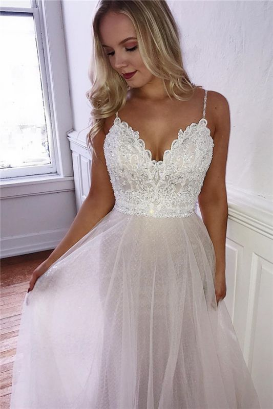 Gorgeous Spaghetti-Straps Appliques A-Line Tulle Prom Dresses