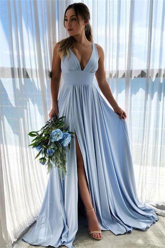 Bretelles bleu ciel col en V fendue sur le côté A-ligne de robe de bal