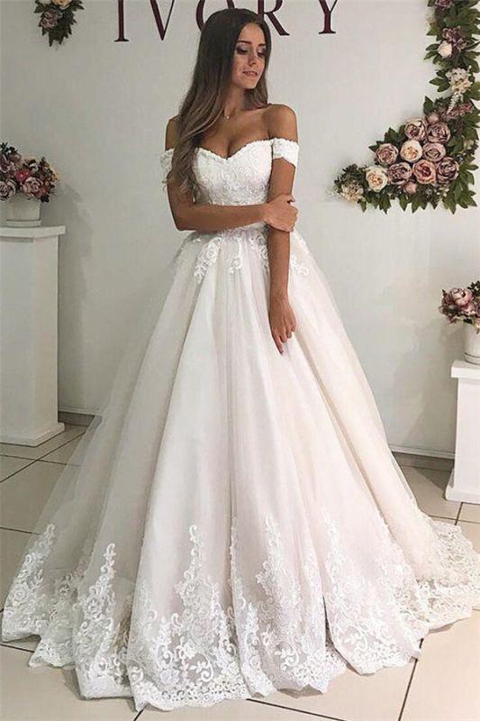 Off The Shoulder Lace Appliques Bridal Dresses   Tulle A-Line Stunning Wedding Dresses Cheap Online