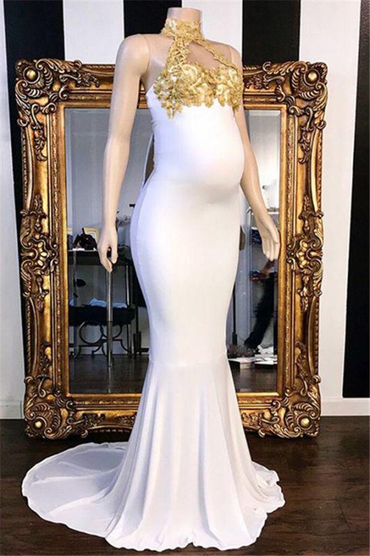 High-Neck Appliques Beaded Pregnant Mermaid Prom Dresses