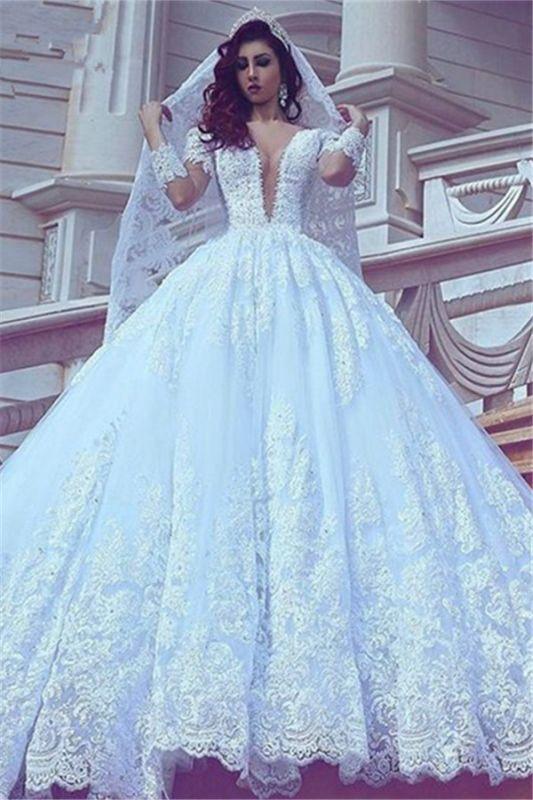 Popular V-neck New Arrival Lace Long Sleeve Cheap Online Court Train Elegant Ball Gown Wedding Dresses