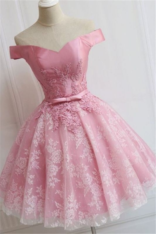Off The Shoulder Custom Made A-line Appliques Bowknot Pink Elegant Sexy Short Homecoming Dresses