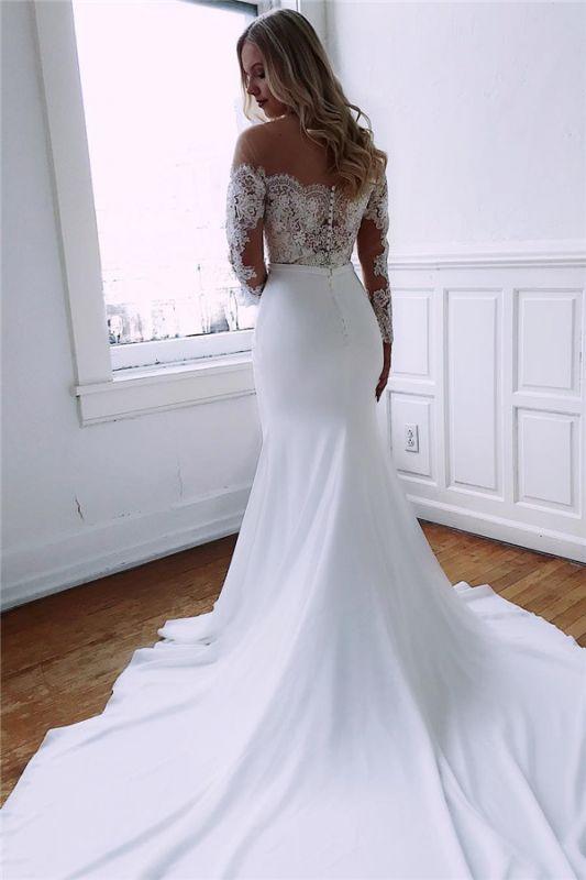 Long Sleeve Lace Wedding Dresses Cheap Sheath Satin Dresses For Weddings Newarrivaldress Com