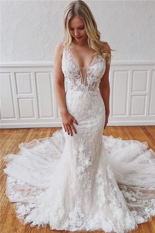 Sexy V-Neck Lace Bridal Gowns Cheap | Detachable Mermaid Wedding Dresses Online