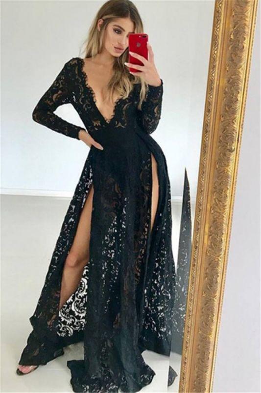 Sexy Black Lace V-Neck Lone-Sleeves Side-Slit Prom Dresses