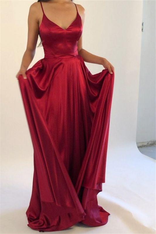 Elegant Simple Burgundy Spaghetti-Straps A-Line Prom Dresses