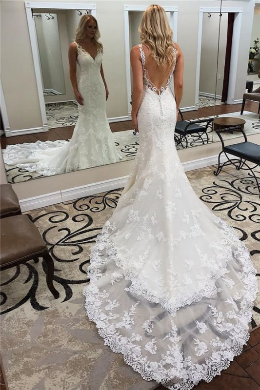 V-neck Sexy Straps Bridal Gowns with Court Train | Lace Backless Mermaid Wedding Dresses