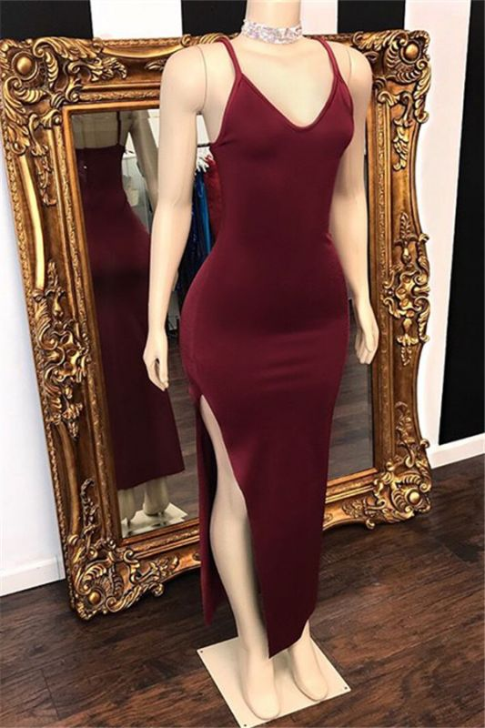Burgundy Spaghetti Straps V-Neck Side Slit Long Prom Dresses Cheap