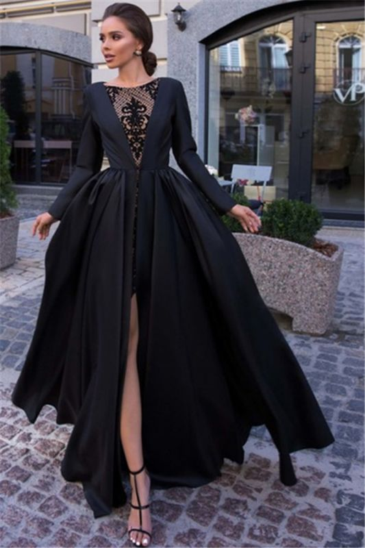 Newly Black Lone Sleeves Side-Slit A-Line Prom Dresses