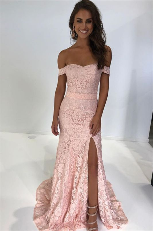 Pink Off-The-Shoulder Lace Side-Slit Mermaid Prom Dresses