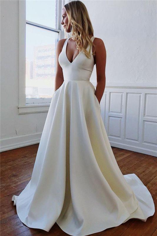 Glamorous Straps Bow Sleeveless A-Line Prom Dresses