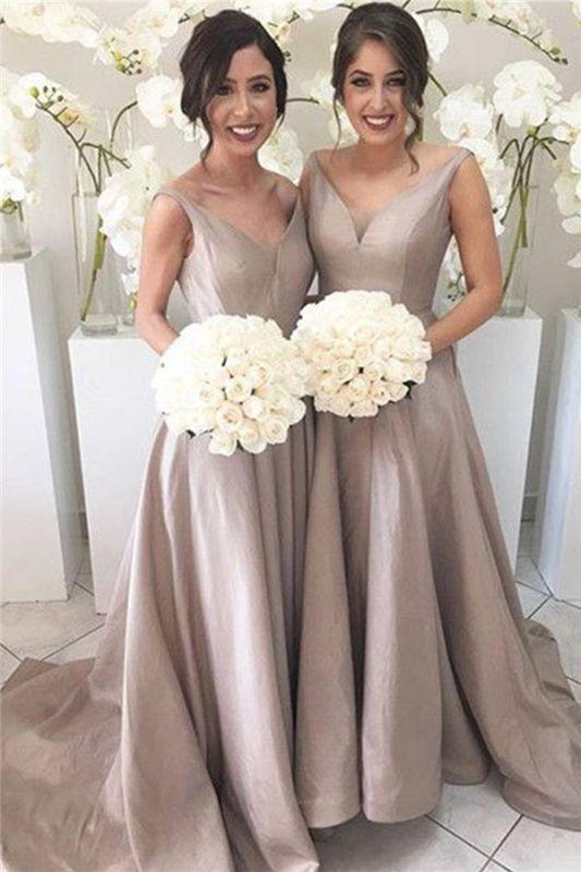 Simple Stretch-Satin Sheer-Tulle V-neck Open-Back Sleeveless Bridesmaid Dress