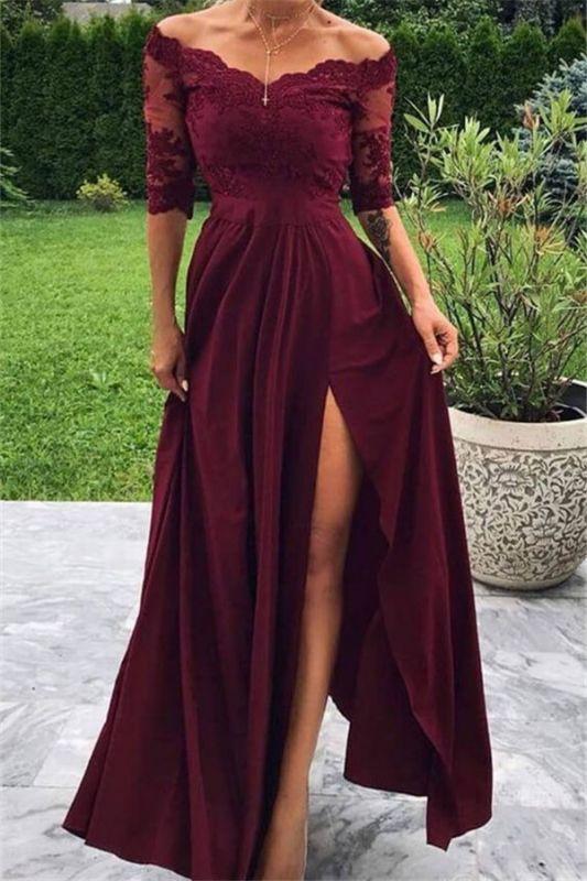 Burgundy Off-The-Shoulder Lace Appliques Side-Slit A-Line Prom Dresses