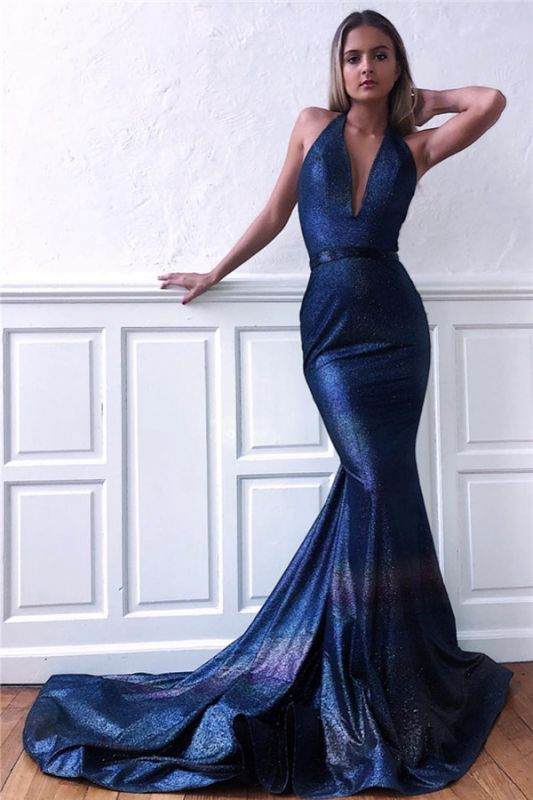 Gorgeous Halter Sequins Sleeveless V-Neck Backless Mermaid Prom Dress