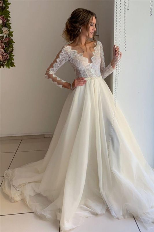 Magnifiques robes en dentelle de v-cou à manches longues une ligne robes de bal