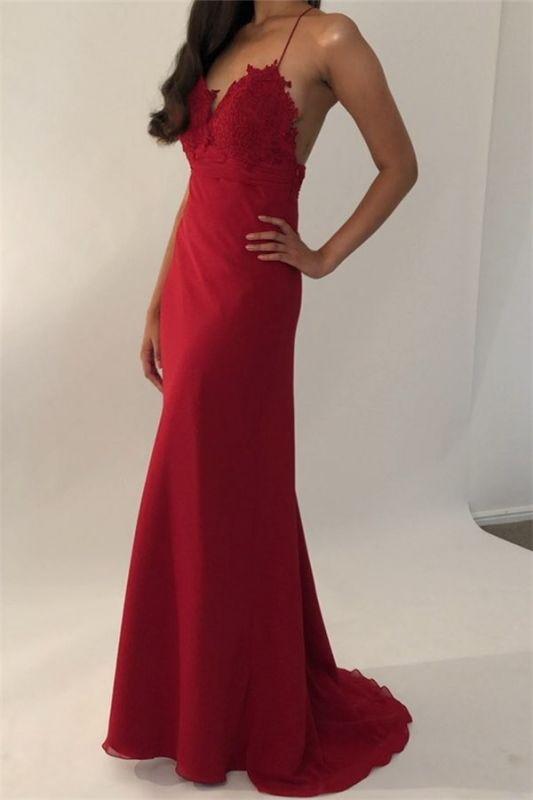 Sexy Spaghetti-Straps Appliques Backless Mermaid Prom Dresses
