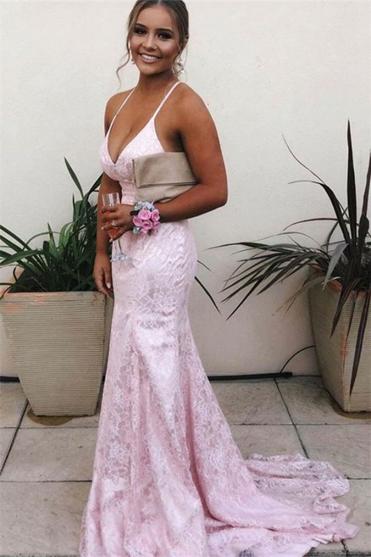 Elegant Pink Spaghetti-Straps Lace Backless Mermaid Prom Dresses