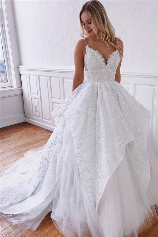 Spaghetti Straps Ruffles Wedding Dresses Cheap | Appliques Lace Puffy Bridal Gowns Online