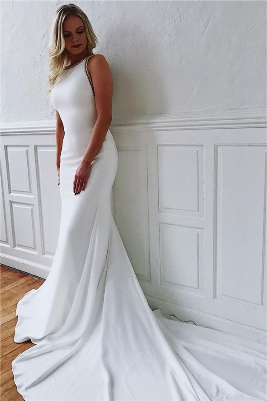Simple Close-fitting Wedding Dresses Cheap Online with Long Train