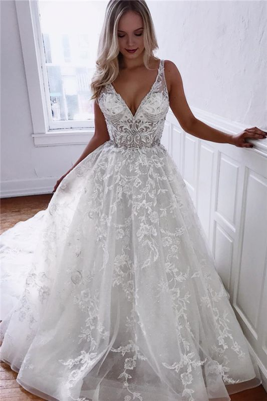 Amazing Straps Crystals Belt White Wedding Dresses |  V-Neck Appliques Lace Bridal Gowns