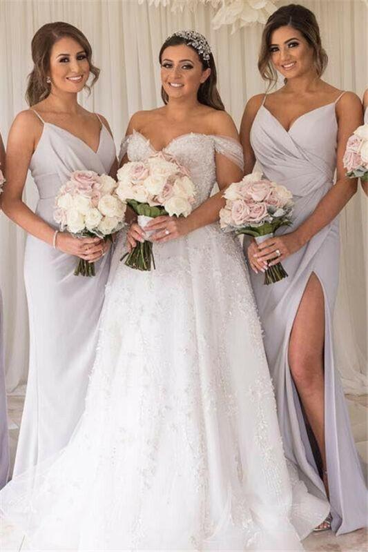 Elegant Cheap Spaghetti-Straps Side-Slit Bridesmaid Dresses