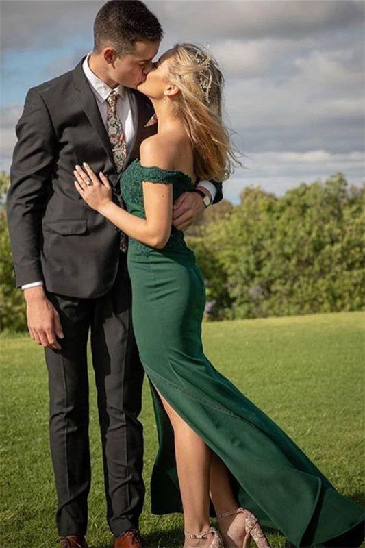 Green Off-The-Shoulder Appliques Side-Slit Mermaid Prom Dresses