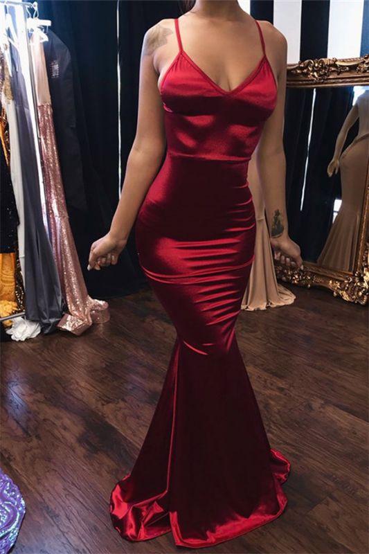 Sexy Burgundy Spaghetti-Straps Sleeveless Mermaid Prom Dresses