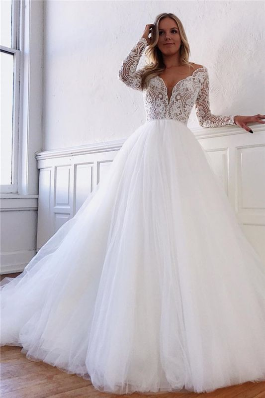 Long Sleeve Wedding Dresses Elegant | Vintage Fluffy Tulle Lace Bridal Gowns Cheap