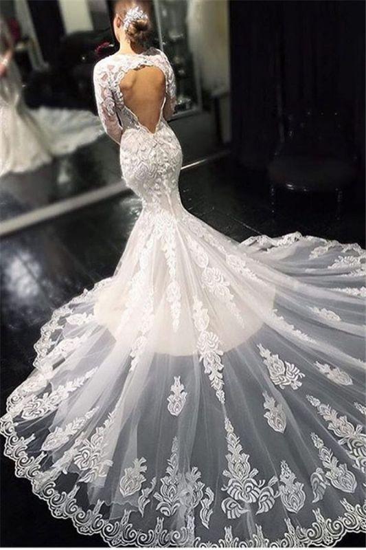 Dentelle élégante appliques manches longues robes de mariée sirène
