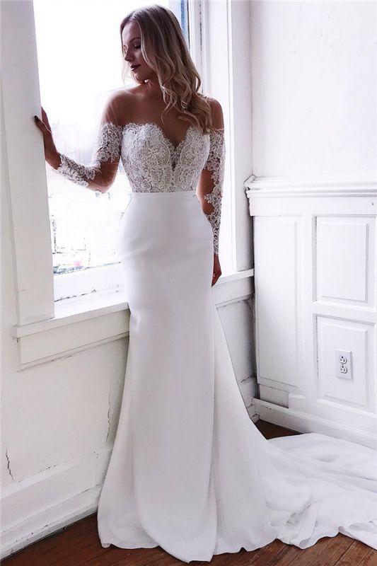 Long Sleeve Lace Wedding Dresses Cheap | Sheath Satin Dresses for Weddings