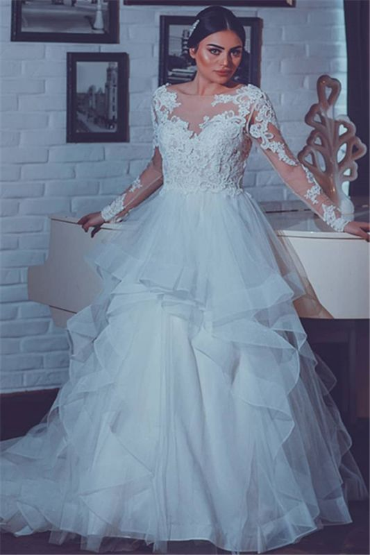 Open Back Lace Appliques Wedding Dresses with Sleeves | Tiered Ruffles Tulle Sexy Bridal Gowns
