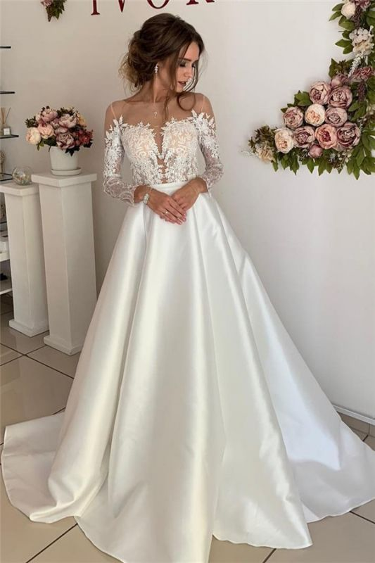 Stunning Long Sleeve Satin Wedding Dresses | Appliques  A-Line Simple Bridal Gowns Cheap
