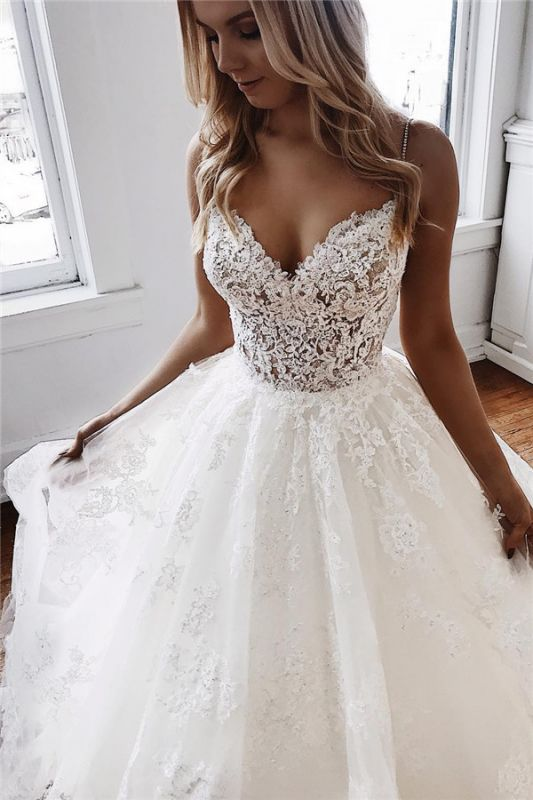 Sexy Spaghetti Straps Lace Appliques  Wedding Dresses | Puffy Tulle Sleeveless Bridal Gowns