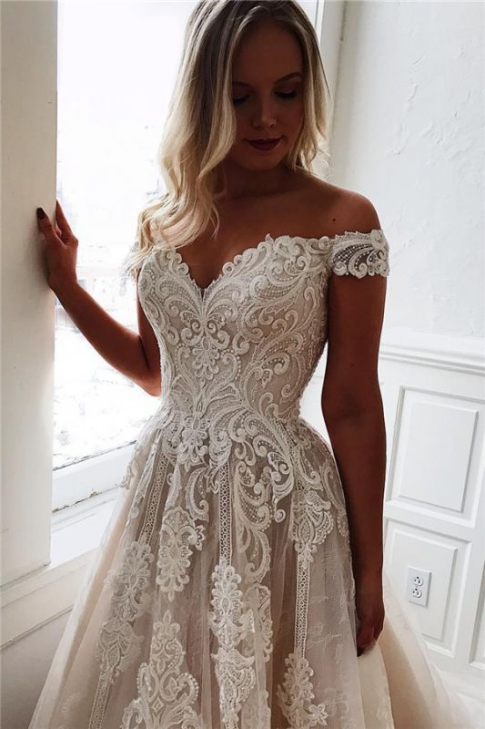 Sexy Off The Shoulder Lace Appliques Bridal Gowns | Cheap Simple Wedding Dresses Online