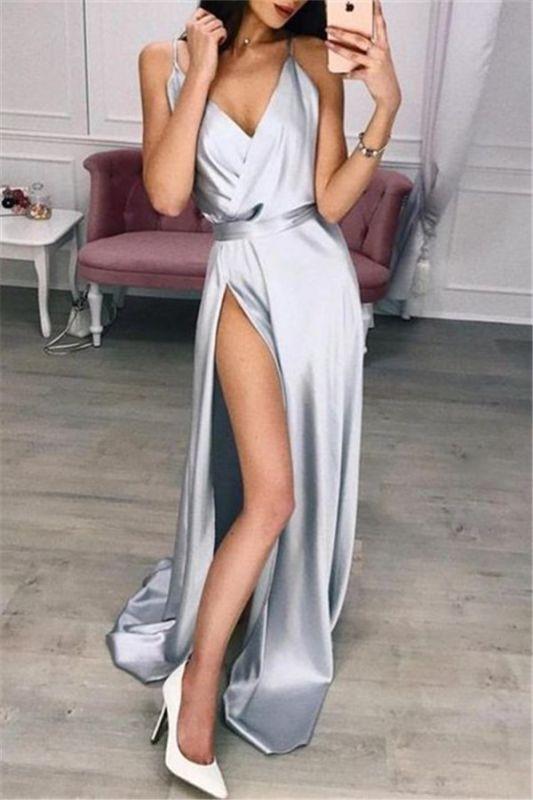Elegant Spaghetti-Straps V-Neck Side-Slit A-Line Prom Dresses