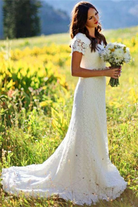 Elegant Lace Appliques Short Sleeve Sheath Wedding Dresses Cheap Online