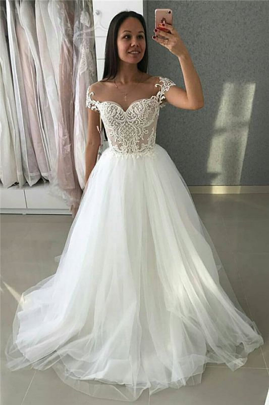 Simple A-Line Tulle Lace Appliques Cap Sleeves Wedding Dresses Cheap