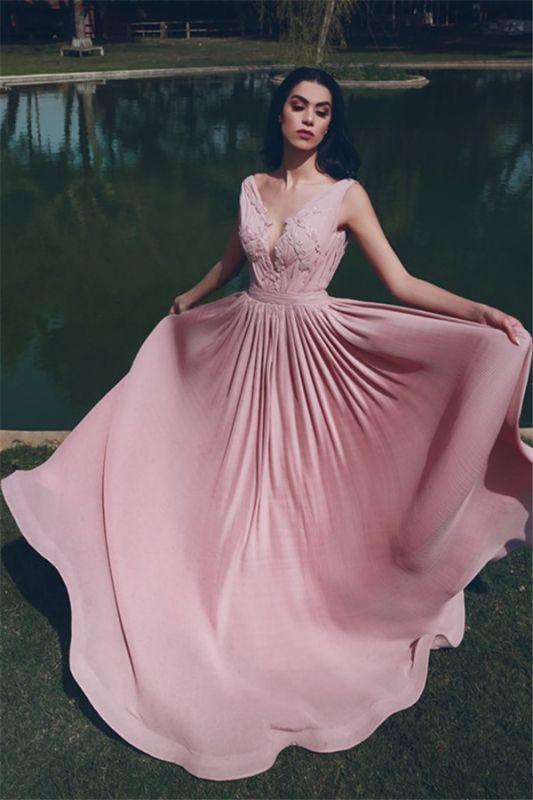 V-Neck Sleeveless Ruffles Appliques Long Evening Dress