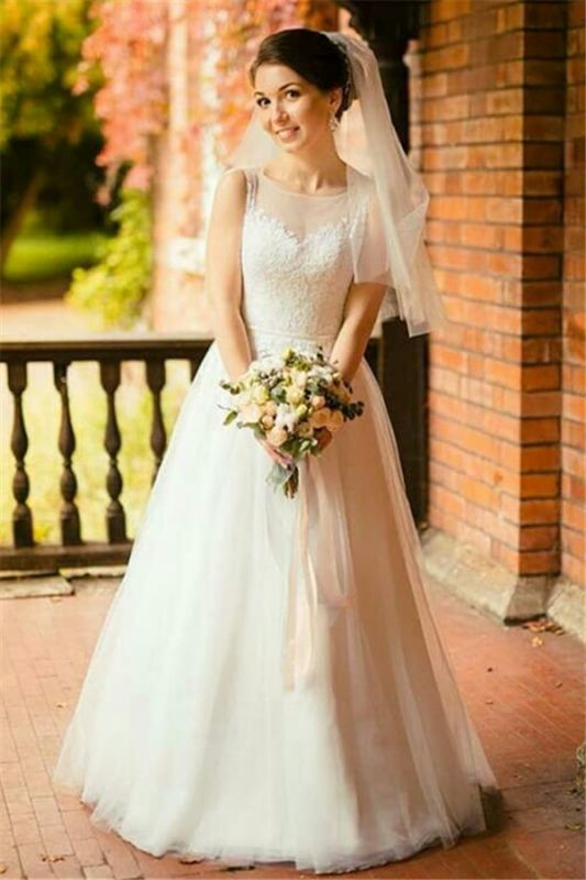 Sexy Sleeveless Tulle Lace Long Wedding Dresses Cheap Online