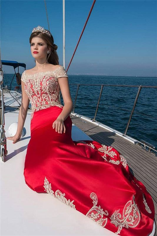Cap-Sleeves Appliques Red Long Evening Dresses